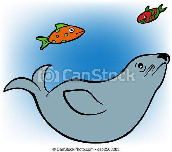 Swimming Seal Clip Art Vectors of seal and fish - lonesome seal ...