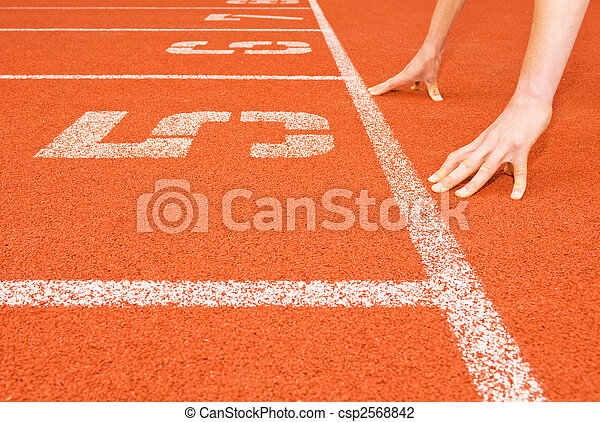 Runner\'s Hands at the Starting Line - csp2568842