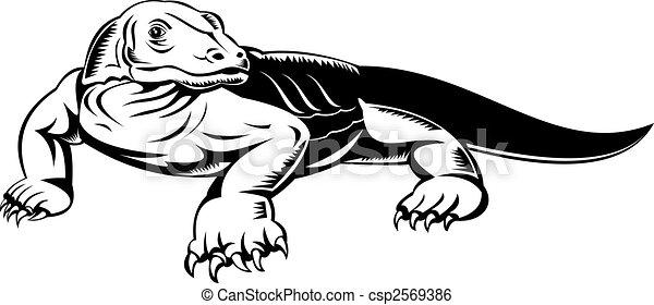 Banco de ilustração - Komodo, dragão - estoque de ilustração ...