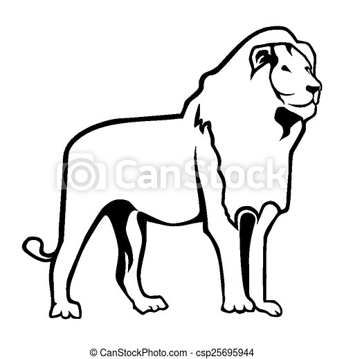 EPS Vector of Lion Outline csp25695944 - Search Clip Art ...