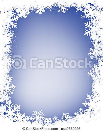 grunge snowflakes frame - csp2569926