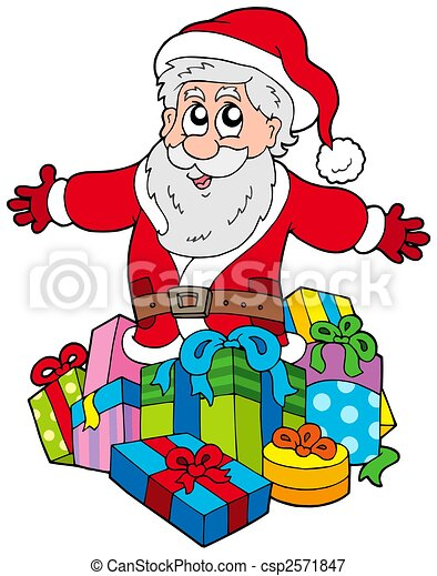 Santa Claus with pile of gifts - csp2571847