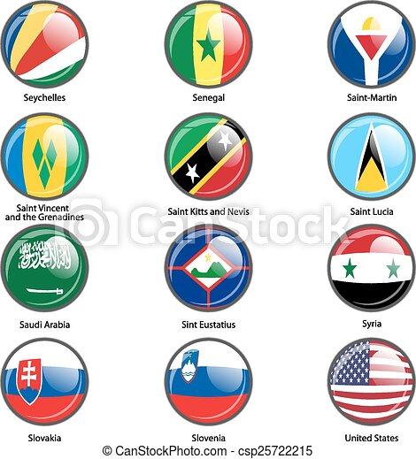 Set circle icon  Flags of world sovereign states. Vector illustr - csp25722215