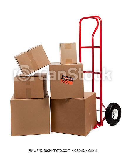 Moving boxes with fragile stickers  - csp2572223