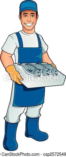 Vecteurs EPS de poissonnier - amical, poissonnier, à, a ...