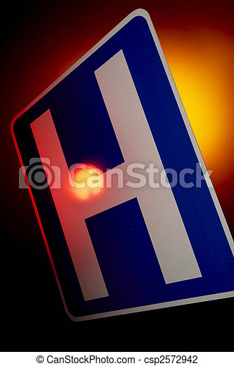 hospital emergency road sign - csp2572942
