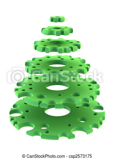 3d symbolic New Year\'s fir tree - csp2573175