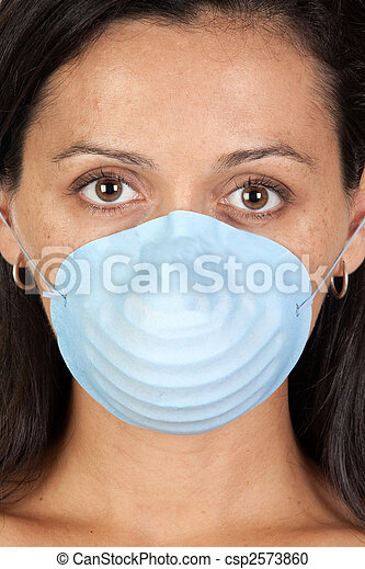 Worried girl with mask - csp2573860