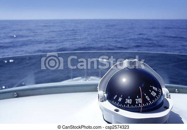 Compass on a yacht boat tower - csp2574323