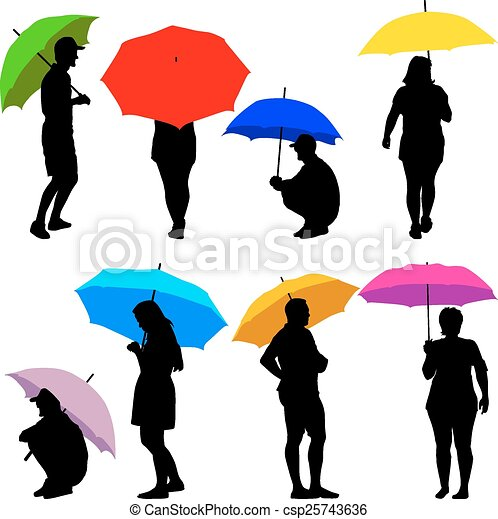 Man And Woman Under Umbrella Silhouette Silhouettes Man And Woman