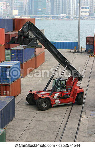 Loading activity at a container port in Hong Kong - csp2574544
