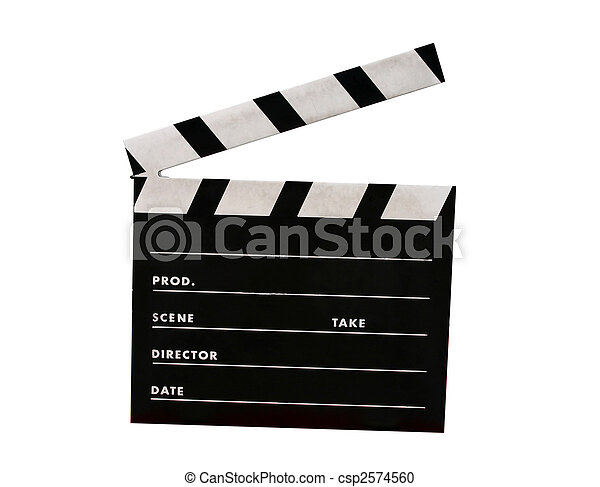 A film clap board isolated on white - csp2574560