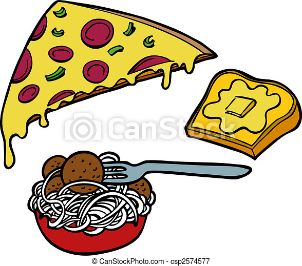 of Pasta Pizza Garlic Bread - Italian food items such as pizza ...