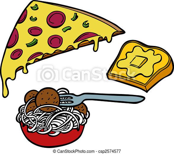 pasta, pizza, knoflook, brood - csp2574577