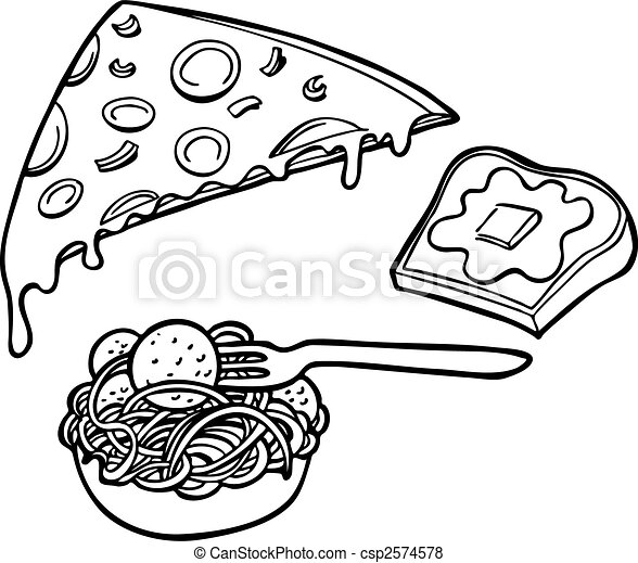 Pasta Pizza Garlic Bread Line Art - csp2574578
