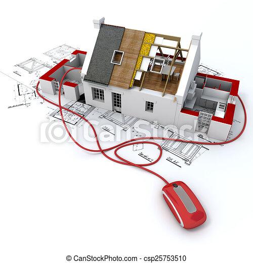clipart de construction ligne 3d rendre de a. Black Bedroom Furniture Sets. Home Design Ideas