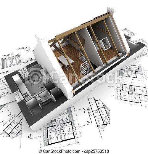 Architecture Blueprints 3d clipart of roofless model house on architect blueprints - 3d