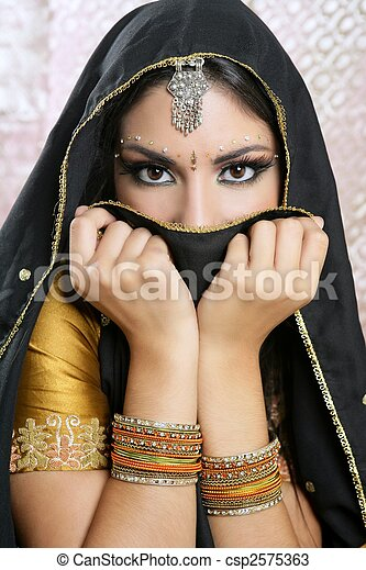 Beautiful brunette asian girl with black veil on face - csp2575363