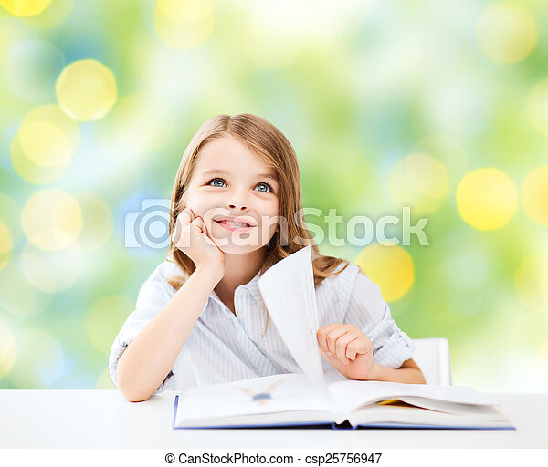 happy student girl with book at school