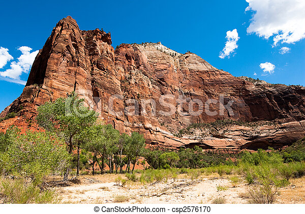 vertical cliffs in zion national park - csp2576170