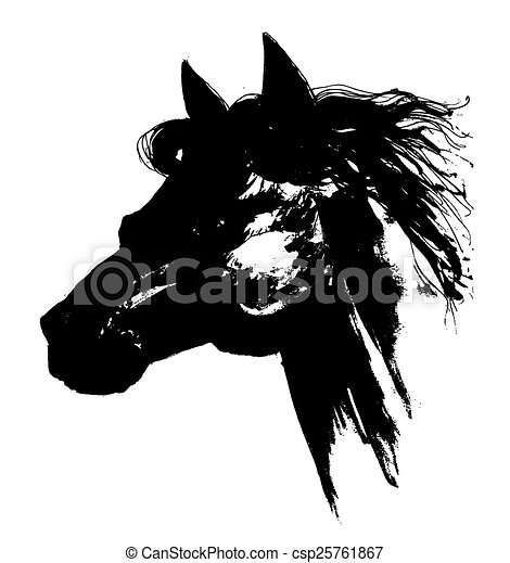 Black horse head drawing - photo#23