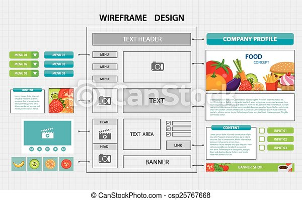 clip art vector of flat website wireframe template csp25767668 search clipart illustration. Black Bedroom Furniture Sets. Home Design Ideas