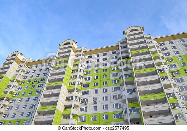 Newly built buildings in green and white - csp2577495