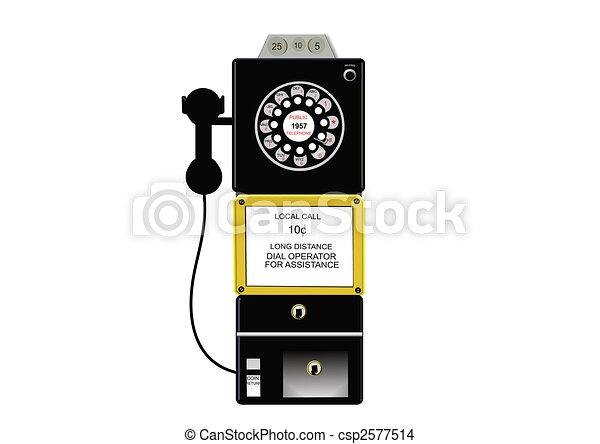 antique payphone in 3d - csp2577514