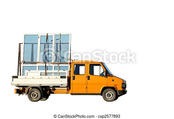 Truck delivering double-glazed winows - csp2577893