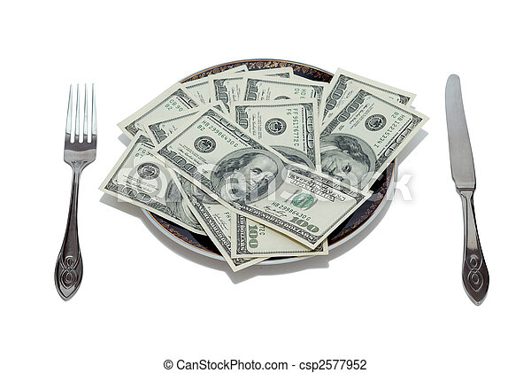 dollars on the plate - csp2577952