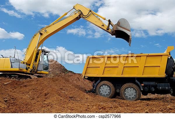 Excavator loading dumper truck - csp2577966