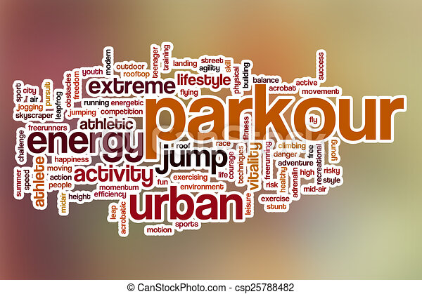 Parkour word cloud with abstract background