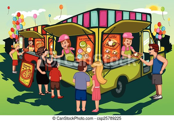 People In Line For Food Truck