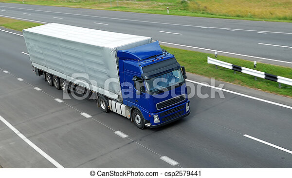 blue lorry with grey trailer (upper view) - csp2579441