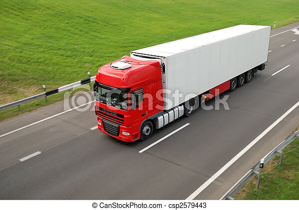 upper view of red lorry with white trailer on the highway - csp2579443
