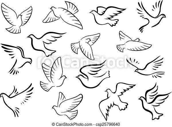 Vecteur eps de pigeon silhouettes colombe oiseaux - Colombe en dessin ...