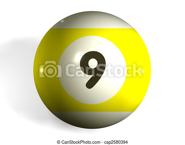 drawing of pool ball isolated 3d pool ball number 9
