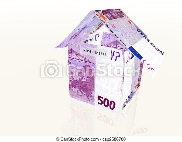 stock fotografie von gemacht haus banknoten 3d 500 euro 3d haus gemacht csp2580700. Black Bedroom Furniture Sets. Home Design Ideas