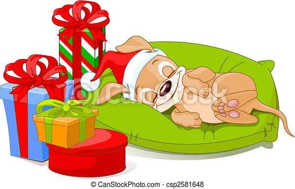 Christmas Puppy Drawing Christmas Puppy Csp2581648