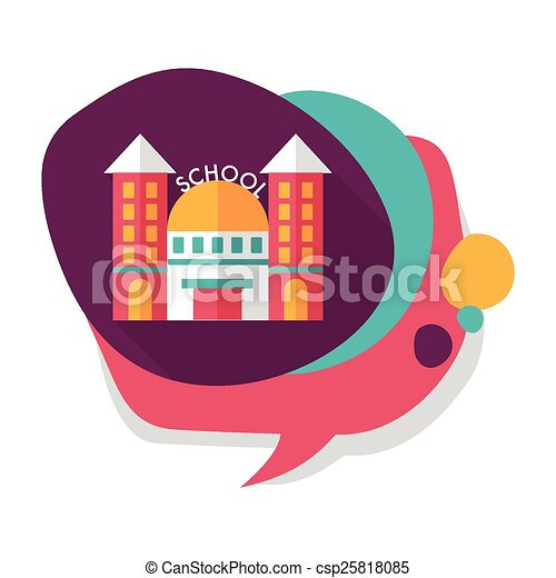 School building flat icon with long shadow,eps10 - csp25818085