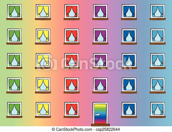 fenetres de a arc en ciel color maison o les heureux habitants mettre haut color rideaux seamless papier peint vecteur illustration - Maison Colore Rideaux
