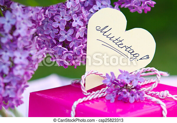 Purple lilac bouquet and mother\'s day card.
