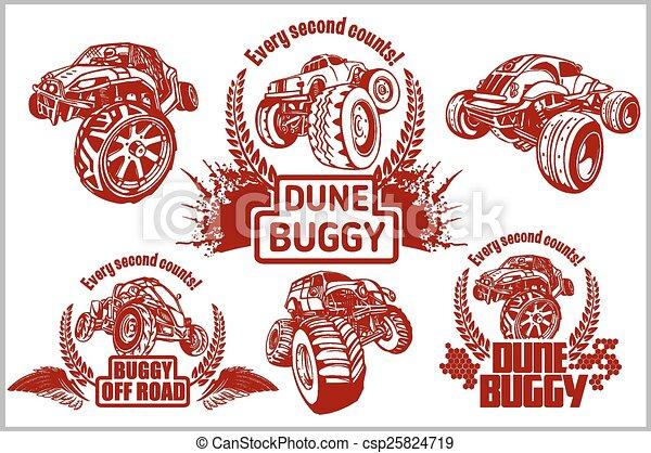 Dune buggy and monster truck - vector badge - csp25824719