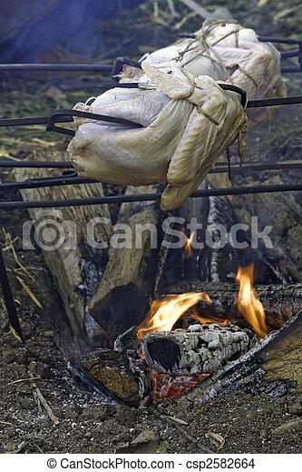 Stock Photo Of Turkeys Roasting Over An Open Fire Vertical