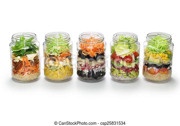 蓋子, 罐子, 沙拉, 不, 玻璃, 蔬菜 - csp25831534