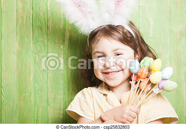Girl with bunny ears  - csp25832803