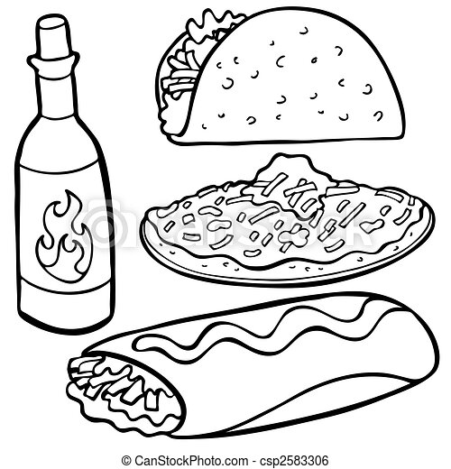 Mexican Food Items Line Art - csp2583306