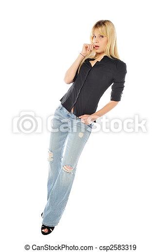 tall thin blond woman - csp2583319