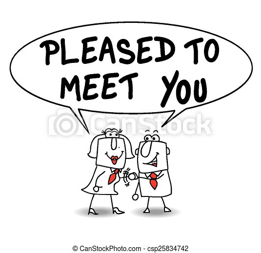 EPS Vector of Pleased to meet you - A businessman meets a ...