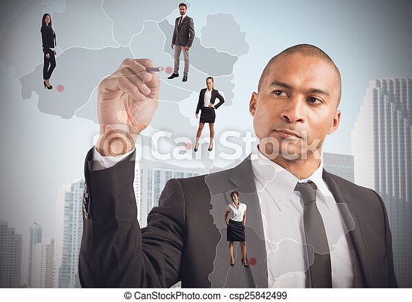 Manager places employees - csp25842499